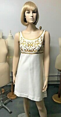 3a1bb5bbd Vintage Late1960s Gold Trimmed Vicky Vaughn Silk Blend Cocktail Dress Bust  34