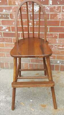 Vintage Childs Wood Booster High Chair Maple Solid Wood