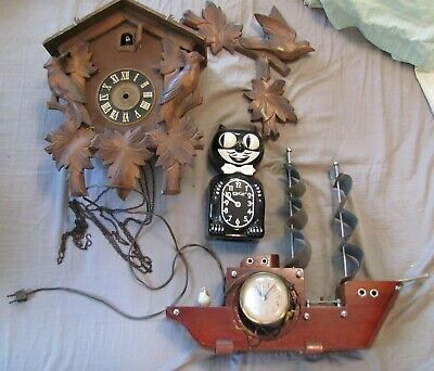 Vntg Cuckoo Clock-Germany / Kit Cat Clock / Seth Thomas Ship Clock--Parts-Repair