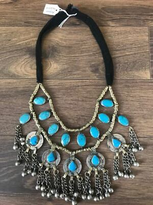 Boho tribal ethnic Afghan necklace turquoise