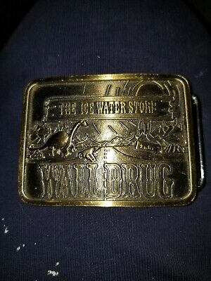 "Wall Drug South Dakota ""The Ice Water Store"" Belt Buckle Dinosaur Sun Mountains"