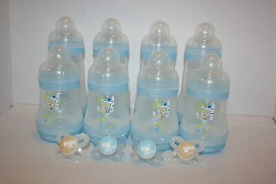 MAM Newborn Gift Set Breastfed Babies 4 Pacifiers & 8 Baby Bottles 5oz & 9oz