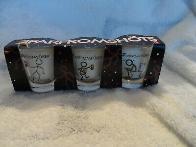 FARFROMSHOTS shot glass set of 3 - sober, puken, poopen