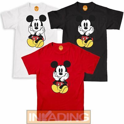 DISNEY Ladies Mens Mickey Mouse T Shirts Character Kids Tee Tops Short Sleeve