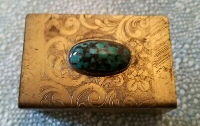 Vintage Appollo Studios New York Arts And Crafts Card Holder Brass Jeweled