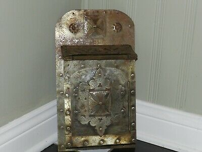 Vtg Antique Medieval Hammered Wrought Metal Riveted 2 Door House Mailbox Gothic