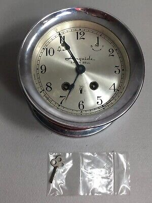 Vintage Airguide SHIPS BELL Brass Clock With Key Works