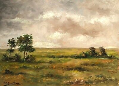 Signed Vintage Impressionist Landscape Study Plein Air Painting On Wood Panel