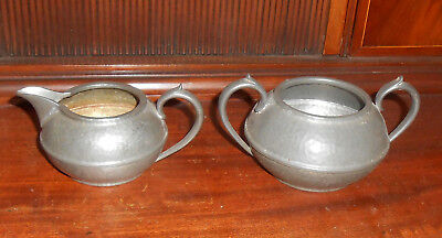 Vintage Arts and Crafts Hammered English Pewter Sugar and Creamer by Civic