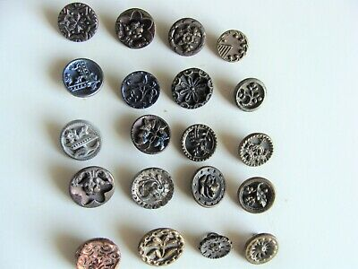 Lot Of 20 Small Antique/ Victorian Metal Picture Buttons