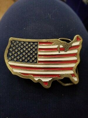 Vintage 1989 The Great American Buckle Co. USA Flag Eagle Belt Buckle #1806