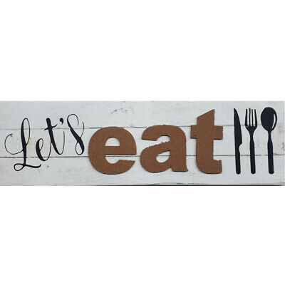 French Country Wooden WHITEWASH Kitchen Dining Room Sign LET'S EAT 63x19cm New