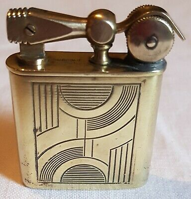 Vintage French Art Deco Surcouf 57-1 Solid Brass Working Petrol Lighter