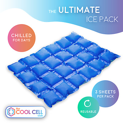 CoolCell Ultimate IcePack x3 Reusable Sheets For Food & Drink Camping Outdoors