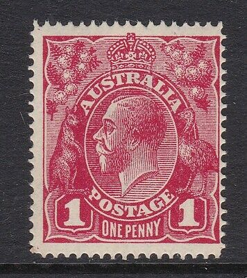 1914 KGV Crown over A wmk, Single line perf, 1d red stamp, Mint unhinged