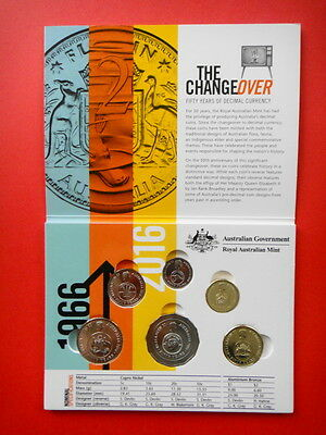 2016 Changeover-Coins Set In Folder - 50th Anniversary of Decimal Currency UNC