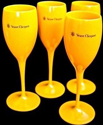 Veuve Clicquot Yellow Champagne Poolside Hot Tub Polycarb Flutes X 4 Unboxed