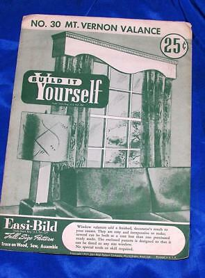 UNUSED VTG EASI BILD DIY WOODWORKING CRAFT PATTERN 30 Mt Vernon Window Valance
