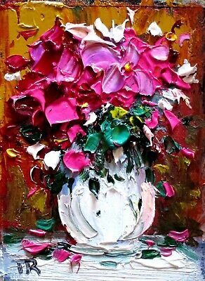 Original  ACEO oil painting floral flowers red still life gift fine art