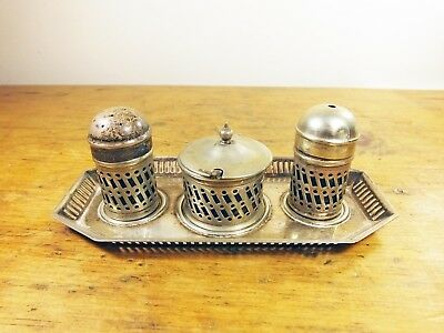 Vintage silver plated EPNS Eldona cruet set with blue glass liners
