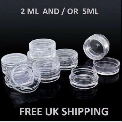 Clear Plastic Sample POTS small Travel Jar Containers Cosmetic Make Up Nail POT