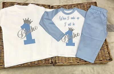 Baby Boy /girl 1st 2nd 3rd  birthday T-shirt with one pair of pyjamas Set