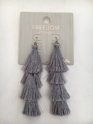 3e724c7c5 NEW FREEDOM AT Topshop Hoop & Tassel Earrings In Deep Red - $6.35 ...