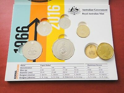 2016 Changeover Coins Set In Folder  50th Anniversary of Decimal Currency UNC