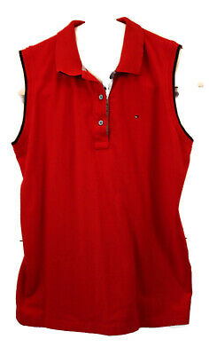 Tommy Hilfiger Women XL Red Polo Top Sleeveless Collar