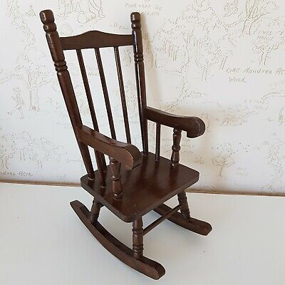 Traditional Wood Vintage Dark Brown Doll or Bear Rocking Chair Ideal for Antique