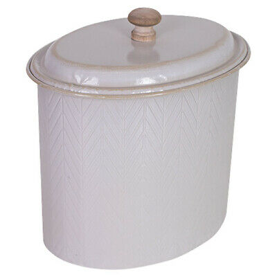French Country Metal Enamel Retro Kitchen Canister Cream Chevron New