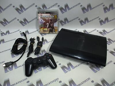 Console Playstation 3 Ps3 Super Slim 500 Gb Con Uncharted 3, Funzionante, Usata