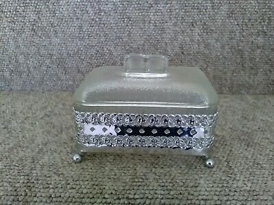 Vintage Glass Butter Dish With Ornate Metal Base.