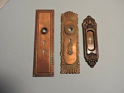 Antique Ornate Copper Door Back Plates~Lot of 3