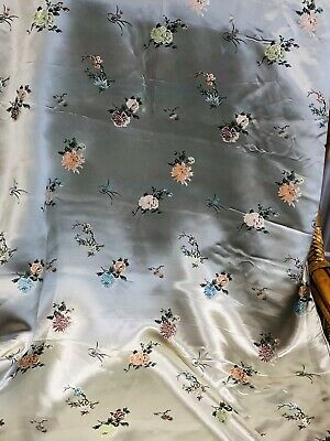 Vintage Kimono Silk Pale Green Embroidered Birds Japanese Fabric 1930s 2.8m 76cm