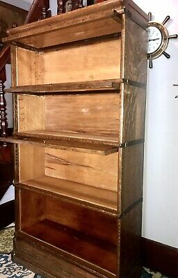 Antique Mission Globe Wernicke Oak 4 Stack Barrister Bookcase Book Shelf