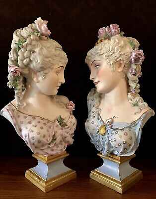 Antique French Paul Duboy Pair Of Large Bisque Busts Of Maidens Rare