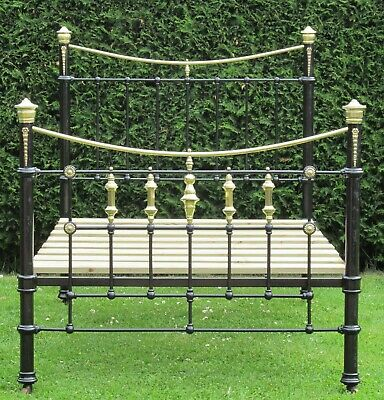 Victorian Brass and iron Small Double ( 4 feet wide ) Bed & Base