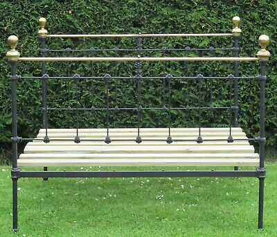 Victorian Brass and iron Standard Double Bed with Pine Slat Base