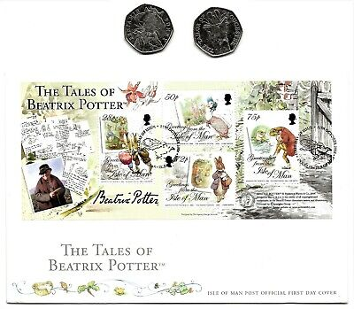 GREAT BRITAIN & ISLE OF MAN - TALES OF BEATRIX POTTER  - 50p COINS & STAMPS FDC