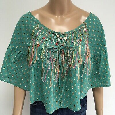 NJ Couture Green Embroidered Hand Made Decor Poncho Top Size M Boho Festival Top