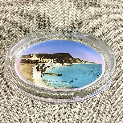 Sidmouth Beach Devon Vintage Holiday Souvenir Glass Ashtray Dish Bowl
