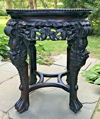 "Antique~CARVED 22-1/2""h x18-1/2""Dia WOOD&MARBLE CHINESE DRAGON LEGS STAND~Exc."