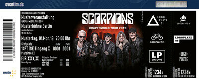 2 Tickets SCORPIONS Crazy World Tour 2019 Bonn 18.08.19 Front of Stage -10% OFF