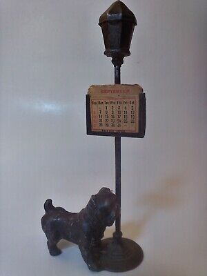 Antique/Vintage Metal & Cast Iron Bulldog Statue Desk Calendar Yale Souvenir