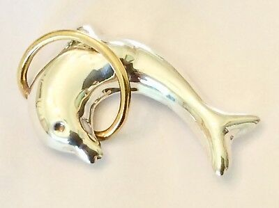 Large & Heavy Vintage Mexican STERLING SILVER Leaping Dolphin Pin
