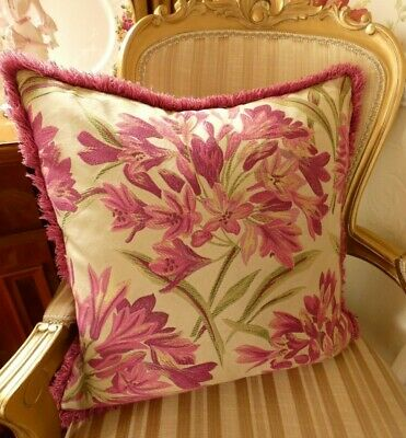 DESIGNER Paoletti Tropicana Fuchsia Pink FLORAL Large Embroidered Cushion & Pad