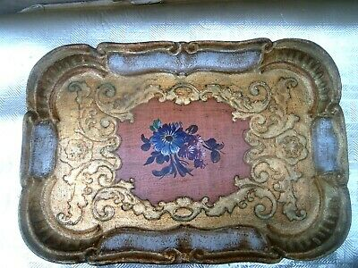 Unusual Antique Ornamental Tray. Embossed, gilt, marquetry?