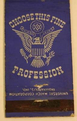 WWII Kokomo Indiana Join the Regular Army Today matchcover-Fine Profession-1940s