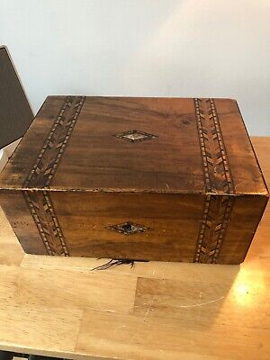 Victorian Inlaid Marquetry Wooden Jewellery Sewing Box